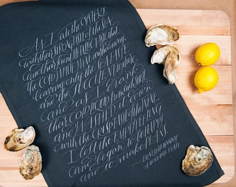 Hand Lettered Ernest Hemingway Quote Oyster Shucking Towel, Tea Towel, or Napkin | Literary Gift and Valentine's Day Gift for Foodies