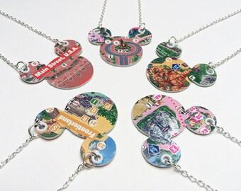 Disney Jewelry, DisneyLAND, Paper necklace, DisneyLAND Park map, Disney wedding, upcycled jewelry, first anniversary gift