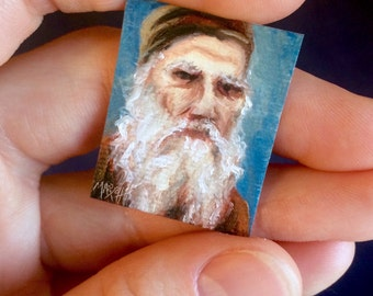 Mini Leo Tolstoy Portrait Painting, Framed