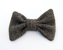 Men's Harris Tweed BowTie, Upcycled Tweed BowTie, Brown/Black Tweed BowTie, Wool Bow Tie, Rustic Wedding, PreTied Bow Tie, Wedding Bow Tie
