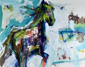 Original Abstract Horse Painting, Large Affordable Horse Art, Expressive And Colorful Horse Artwork, Horse Pictures