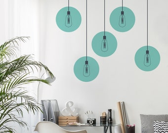 Industrial Lights Wall Decal - Vintage Lamp Wall Sticker - Round Light Bulb Sticker