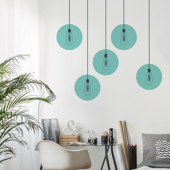 Hanging Lamp Wall Sticker: Industrial Lights Wall Decal Vintage Lamp Wall Sticker