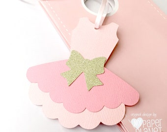 Pink Ballet Tutu Gift tags. Baby shower or birthday party tags. Pink & white with gold or silver glitter bows. Ballerina birthday party.
