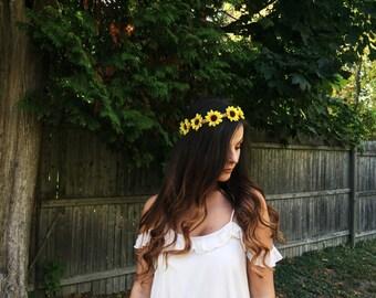 Flower Crown, Flower Headband, Twine Headband, Sunflower Crown