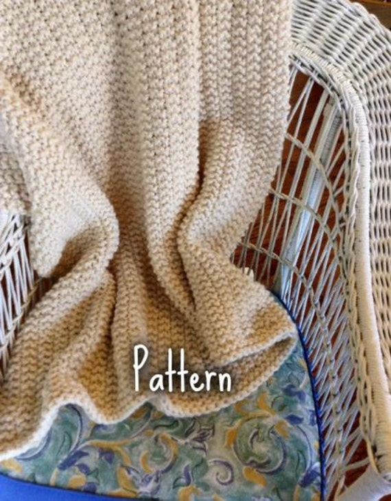 Knitting Pattern Chunky Wool Blanket : Knitting Pattern Chunky Knit Wool Blanket Throw by CdCkDesign