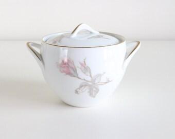 Porcelain Sugar Bowl With Lid, Sugar Jar With Lid, Pink Rose Sango Japan Pastoral, Vintage Sango China, Gifts For Mom, Vintage Serveware