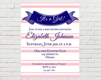Striped Printable Baby Custom Shower Invitations, Instant Download, Printable Baby Shower Invitations, 5x7 Party Invites