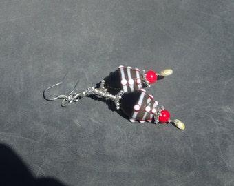 glass drop earrrings/boho gypsy earrings/Handmade earrings/women/girls earrings/coral glass czech glass earrings/wire wrapped earrings/E8