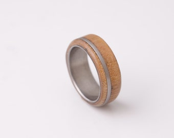 mens wedding band wood ring titanium ring band cherry ring