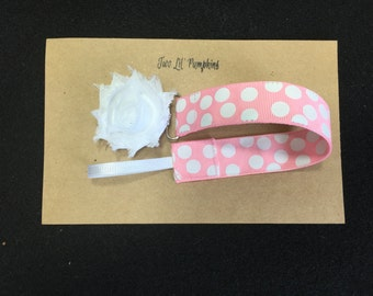 Baby Girl Pacifier Clip, Baby Shower Gift, Baby Binky Clip, Girl Paci Clip, Polka Dot Pacifier Holder, Pink Pacifier Clip, Shabby Flower