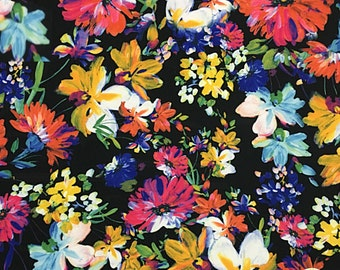 "Painted Flowers Spandex Fabric SALE 4Way Stretch Lycra Knit By The Yard 58"" Wide"