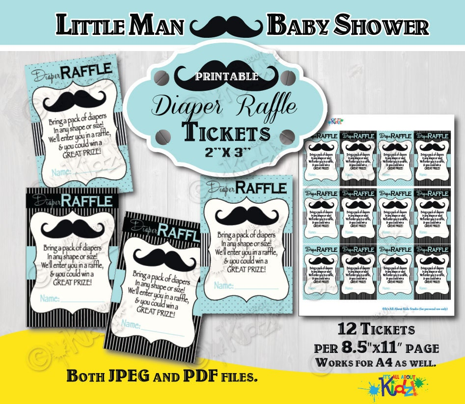 instant download mustache baby shower diaper raffle tickets