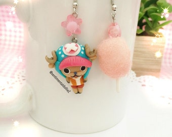 kawaii cotton candy earrings, pink cotton candy,MADE TO ORDER