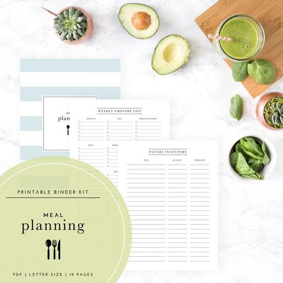 Meal Planning Binder Kit PDF A Printable PDF
