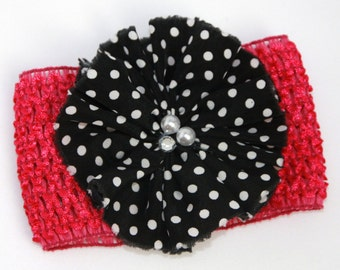 Ready Made•Newborn•Polkadot Flower•Hot Pink Baby Headband