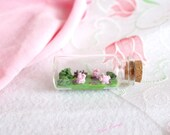 Miniature bottle pig polymer clay decoration animal homedecoration
