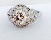 14K White Gold Art Deco Diamond Engagement Ring - Art Deco 14K Gold Diamond Wedding Ring - Hand Engraved Gold Diamond Ring - Art Deco Ring