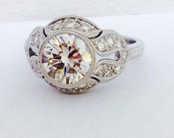 Art Deco 18K White Gold Diamond Engagement Ring - 18K Gold Art Deco Diamond Wedding Ring - Hand Engraved Diamond Ring - Engraved Gold Ring