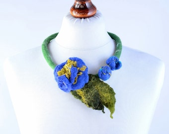 Felt flower necklace 15% OFF - pure wool necklace with unique royal blue flower - handcrafted natural jewelry, art floral necklace [N122]