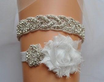 Crystal Bridal Garter Set, Wedding Garter Set Ivory,White Ivory Shabby Chic Rhinestone Garter, Crystal Rhinestone Garter and Toss Garter Set