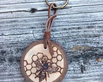Honey Bee Hexagon Keychain