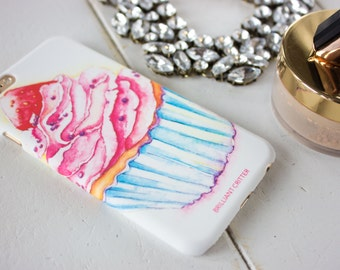 Cupcake iPhone Case - Cake Phone Cover - Sweet iPhone 6 Case - Watercolor iPhone Case - Cute iPhone Cases - Pink iPhone Case