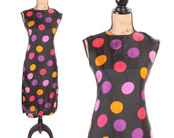 1960s Black Silk Sheath Multi Colored Twister Shift Dress