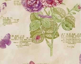 Purple and Green Floral Script Wallpaper - Botanist Paradise, Botanical Garden - Butterfly, Dragonfly, Bee, Wall - By The Yard - PA34247so