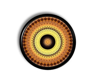 Mandala Style Brown and Gold Circle Print Drawer Pull - Geometric, Unique, Home Goods, Dresser, Cabinet, Furniture Knob - 815Q3