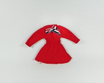 Vintage Takara Jenny Licca Doll Dress - Red Long Sleeve - Red White Blue Bow - Flight Attendant or Stewardess Style - Tagged Takara - Velcro