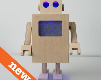 Robot LED lamp from plywood with remote control for full light / color adjustments