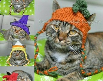 Nurdi Babi Cat Hats Vol. 1 Halloween Edition Cat Hat Crochet Patterns Pet Hat with Permission to Sell