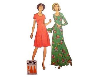 "1970's Jiffy Mod Dress, Women's Sewing Pattern in Two Lengths, Maxi and Mid-Knee Length Size 16 1/2 Bust 39"" Uncut Vintage Simplicity 7030"