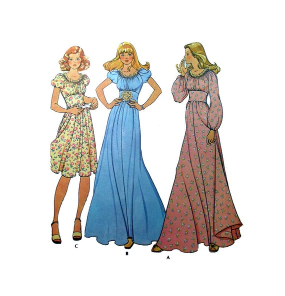 peasant maxi dress sewing pattern flared skirt fitted