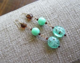 green earrings, long green earrings, green and brown earrings, Lucite earrings, lightweight earrings, fun earrings, summer earrings, mint