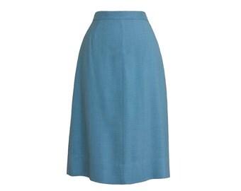 1950s Vintage Sky Blue Linen Pencil Skirt, Midcentury 50s Cerulean Spring Skirt Small