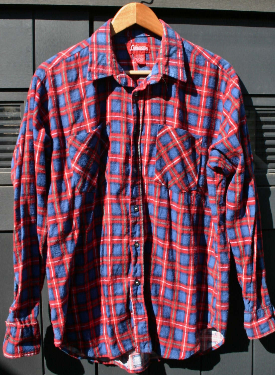 Size Large Worn Coleman Brand Flannel Shirt Camping Fishing