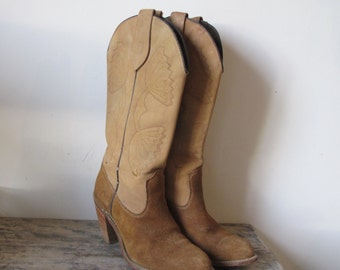 Vintage Capezio Suede & leather cowgirl Boots Women  6 1/2 US