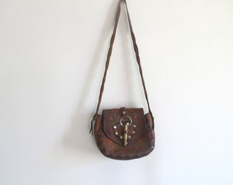 Vintage 70s Hippie leather Floral shoulder Bag
