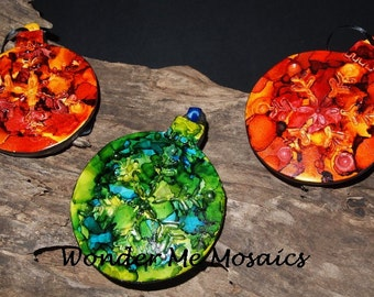 Handmade Alcohol Ink Christmas Ornaments - Set of Three Snowflakes