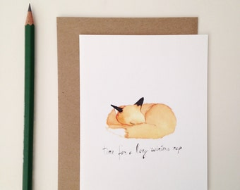 Christmas Card // Sleeping Fox // 'Time for a Long Winters Nap' // Winter Fox Card