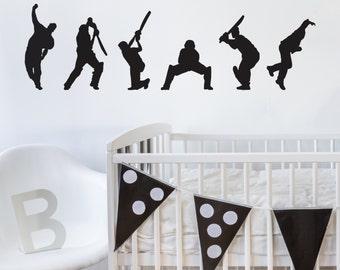 Wall Sticker Cricketers - Decals - Wall Tattoo - Wall Art - Home Decor - Wall Decor - Wall Decals - Cricketers - Sports - Wall Sticker