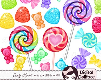 Rainbow Candy Clipart, Sweet Shop Birthday Candy Clip Art, Lollipops, Gumdrops, Gummy Bears