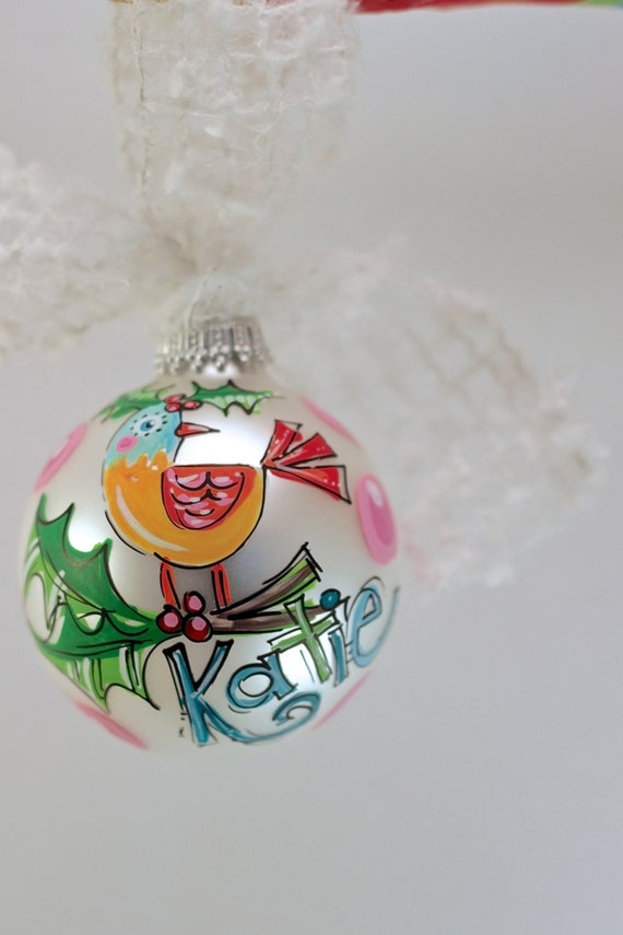 Items similar to monogrammed glass ornament personalized