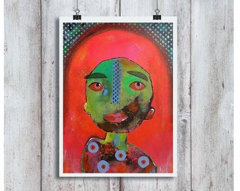 Outsider Art Print Poster Colorful Face Wall Art Brut Large A3 size Red Green Abstract Portrait Wall Decor Painting Weird Funky