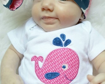 Personalized Baby Whale Onesie, embroidered, infant outfit, bodysuit, baby name onesie, ocean baby, pink and navy, baby girl