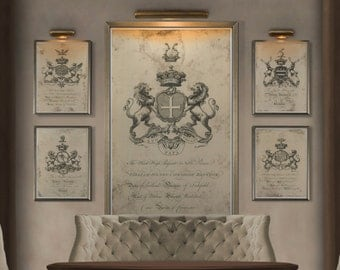 Coat of Arms Print #1 : Family Crest -  18th C. English Armorial Engravings print poster - Heraldy print