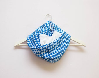 Blue Infinity Scarf, Blue and White Scarf, Houndstooth Scarf, Spring Scarves, Lightweight Scarf, Blue Loop Scarf, Blue Circle Scarf, Scarves
