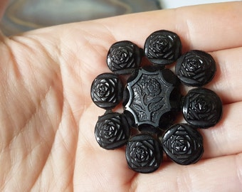 Antique black French Jet flower brooch - Mourning, Edwardian, Victorian, gothic, glass.
